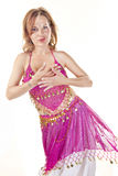 Belly Dancer Isolated on White Stock Photos