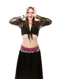Belly dancer mimic Royalty Free Stock Images