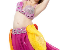 Belly dancer performing, Arabic tradition. Royalty Free Stock Photos