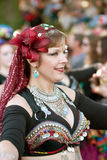 Belly Dancer Performs At Halloween Parade Stock Images
