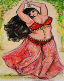 Belly Dancer in Red Royalty Free Stock Images