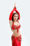 Belly dancer in red Royalty Free Stock Image