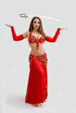 Belly dancer in red Stock Image
