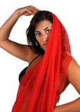 Belly-dancer in red kerchief Stock Image