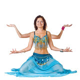 Belly Dancer sitting like Shiva Stock Photos