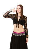 Belly dancer speaks on phone Royalty Free Stock Images