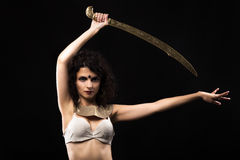 Belly dancer. With a sword Royalty Free Stock Photos