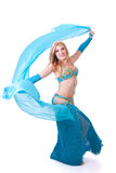 Belly dancer turning with veil Stock Photo