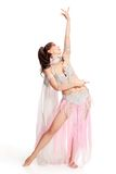 Belly Dancer wearing a white costume Royalty Free Stock Photography