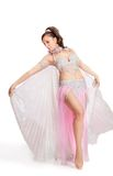 Belly Dancer wearing a white costume Royalty Free Stock Image