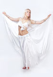 Belly  dancer in a white dress. Royalty Free Stock Photos