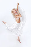 Belly  dancer in a white dress. Stock Images