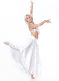 Belly  dancer in a white dress. Royalty Free Stock Image