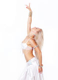 Belly  dancer in a white dress. Royalty Free Stock Images