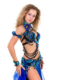 Belly dancer. Woman dressed in a blue costume Stock Photo
