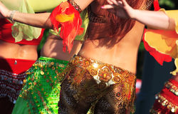 Belly dancer women. On stage Stock Photos