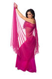Belly dancer wrapped in a hot pink veil Stock Images