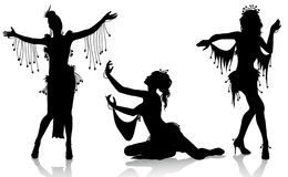 Belly dancers. Vector silhouettes of beautiful belly dancers isolated on white background Stock Photo