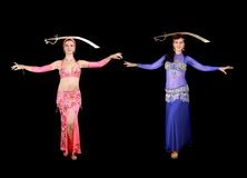 Belly dancers. In traditional dress Stock Photos