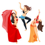 Belly dancers set of girls isolated on white background. Professional long haired caucasian woman dancing with open torso in oriental dresses. Vector Royalty Free Stock Image