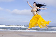 Belly Dancing on the Beach Royalty Free Stock Images