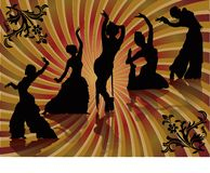 Belly dancing black woman silhouette Stock Photo
