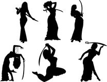 Belly dancing black woman silhouette on white Stock Photo