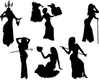Belly dancing black woman silhouette on white Royalty Free Stock Photography