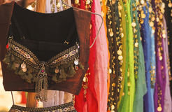 A Belly Dancing Costume and Colorful Skirts Royalty Free Stock Images