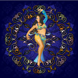 Belly dence. Girl dancing belly dance in a circular pattern Stock Photos