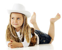 Belly-Down Cowgirl Royalty Free Stock Photography