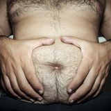 Belly fat and hairy man Royalty Free Stock Photography