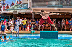 Belly flop competition on a cruise ship royalty free stock photos