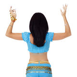 Belly girl in eastern dancing blue clothes Royalty Free Stock Image