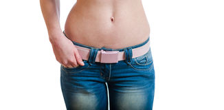 Belly and jeans Royalty Free Stock Image