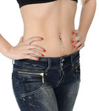 Belly with piercing stock photos