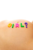 Belly of pregnant woman with girl lettering Stock Image