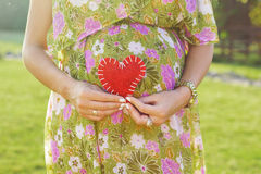 Belly of pregnant woman and heart symbol outdoors Royalty Free Stock Photo