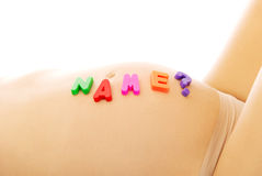 Belly of pregnant woman with name question Royalty Free Stock Photo