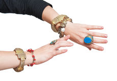 Belly and tribal dancers hands isolated Royalty Free Stock Photo