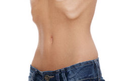 Belly of young female with anorexia Stock Photo