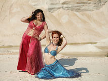 Bellydance in outdoors Royalty Free Stock Photos