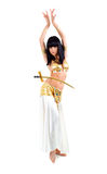 Bellydance woman in yellow egypt style. Royalty Free Stock Photography