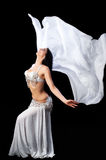 Bellydancer Dances with a Silver Silk Veil Stock Photography