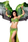 Bellydancer Dancing with a Green Silk Veil Royalty Free Stock Photo