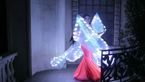 Bellydancer with led light butterfly stock footage