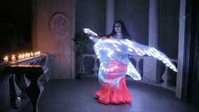 Bellydancer with led light butterfly stock video footage