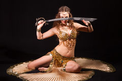 Bellydancer with sword Stock Image