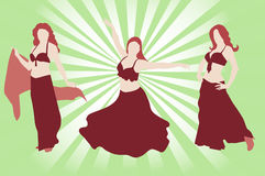 Bellydancers. Silhouettes of three belly dancers royalty free illustration