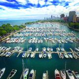 Belmont Harbor is Busy. Belmont Harbor looking at downtown Chicago Stock Image